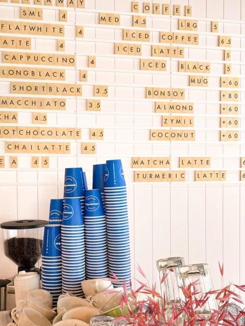 Large Letter Menu set, plywood tiles displaying a cafe menu
