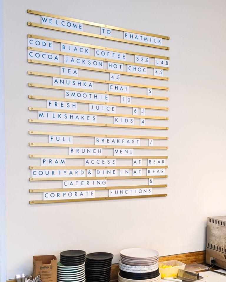 Custom Letter Tiles, Letter Menu, Menu Board, Gold Rails. By Decently Exposed