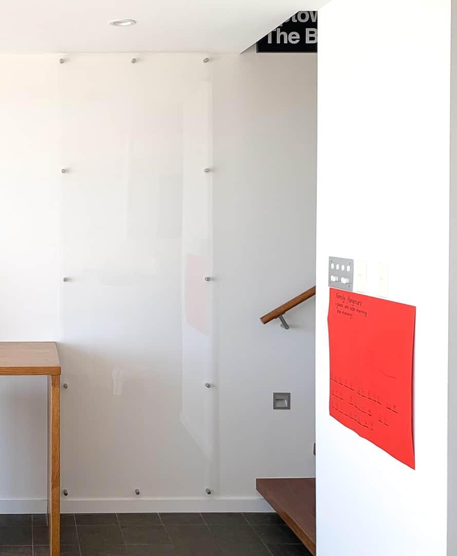 frameless clear whiteboard, acrylic whiteboard, wall scrawl