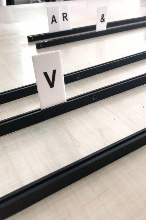 Letter Tiles, Letter Menu, Menu Board, Matte Black Rails. By Decently Exposed