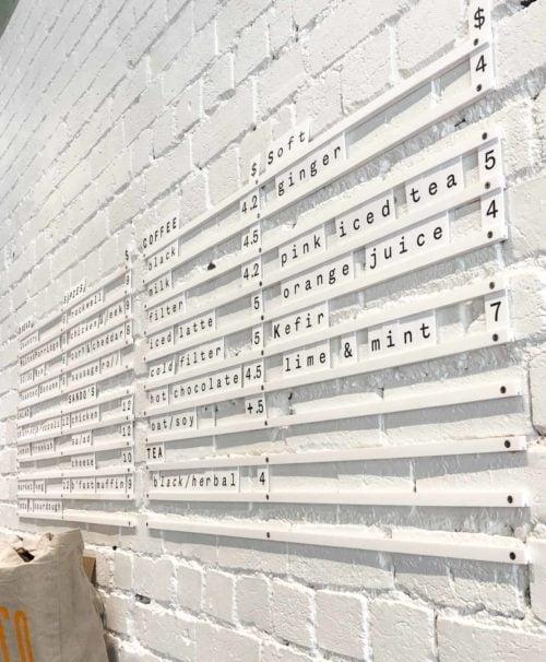 Letter Tiles, Letter Menu, Menu Board, Matte White Rails. By Decently Exposed