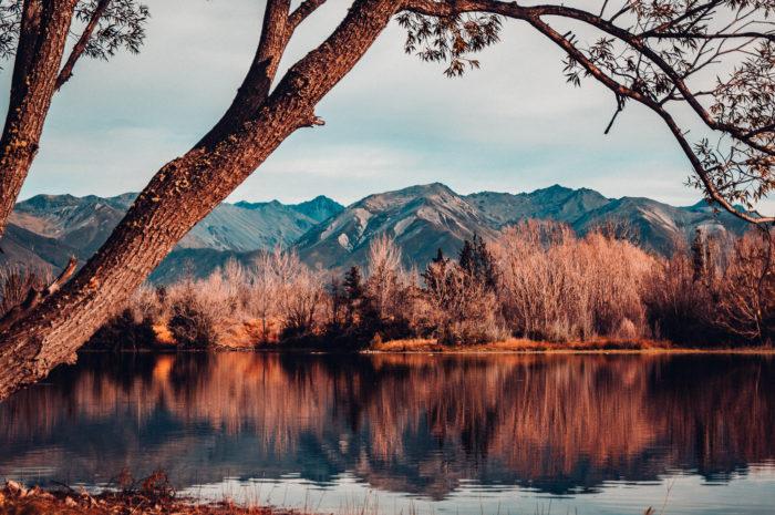 Lake reflection near Tekapo, South Island, New Zealand.